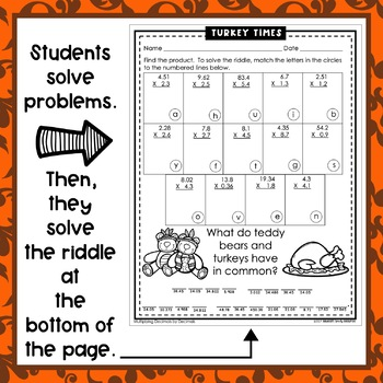 Thanksgiving Math Riddles: Decimals-5th Grade