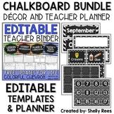Classroom Decor Bundle and Teacher Planner Chalkboard Theme