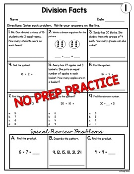 Division Facts Worksheets