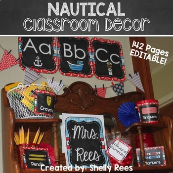Nautical Classroom Theme Decor and Teacher Planner BUNDLE