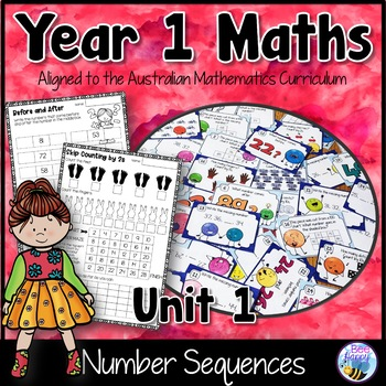 Number Sequences Worksheets and Task Cards Year 1