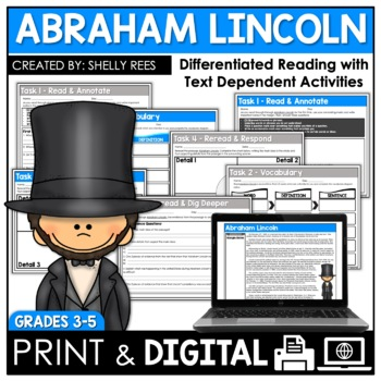 Abraham Lincoln Reading Passage and Worksheets