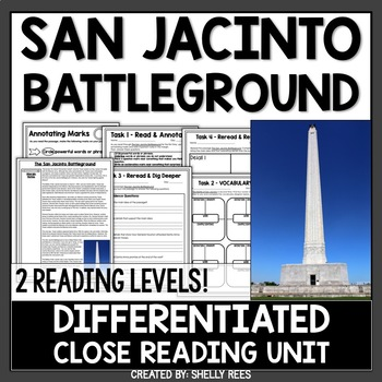 Battle of San Jacinto Reading Passage and Worksheets