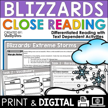 Blizzards Reading Passage and Worksheets