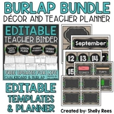 Burlap and Chalkboard Classroom Decor & Teacher Planner Bundle