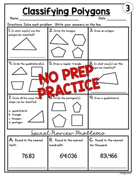 Classifying Polygons Worksheets