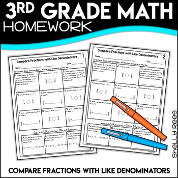 Comparing Fractions with Like Denominators Worksheets