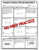 Comparing Fractions with Same Numerator Worksheets
