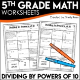 Dividing by Powers of 10 - 5th Grade Math Worksheets