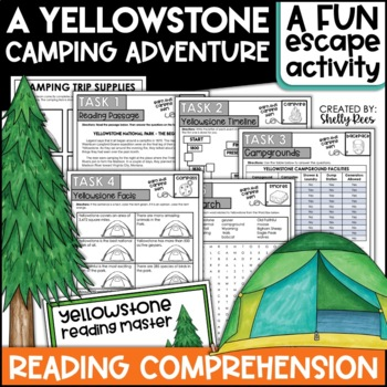 Escape Room Reading Comprehension | Yellowstone National Park NO LOCKS NEEDED