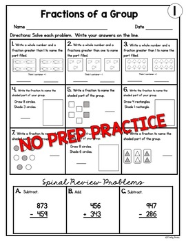 Fractions of a Group Worksheets