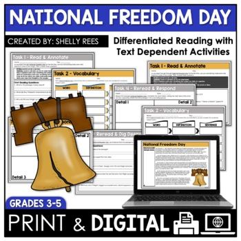 Freedom Day Reading Comprehension Passage and Worksheets