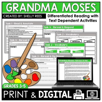 Grandma Moses Reading Comprehension Passage And Worksheets By Shelly