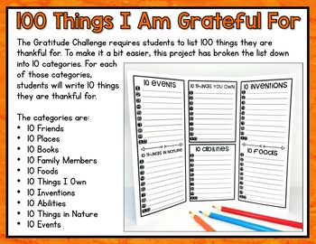 Gratitude Challenge | 100th Day of School Activities