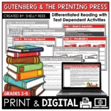 Gutenberg and the Printing Press Reading Passage & Worksheets