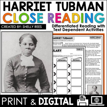 Harriet Tubman Reading Passage and Worksheets