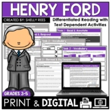 Henry Ford Reading Passage and Comprehension Worksheets