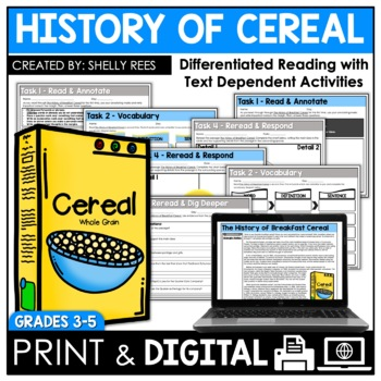 History of Cereal Reading Passage and Worksheets
