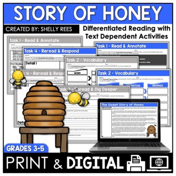 Honey Bees Reading Passage - How Honey is Made Close Reading Unit