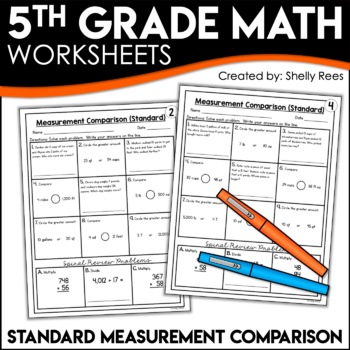 Measurement Comparison Worksheets CUSTOMARY