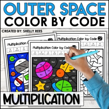 Multiplication Coloring Worksheet Outer Space By Shelly