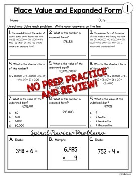 Number Form and Place Value Worksheets