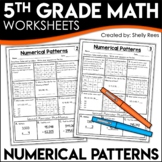 5th Grade Math Homework Numerical Patterns Worksheets