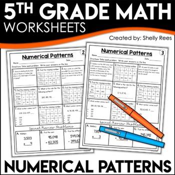 5th Grade Math Homework Numerical Patterns Worksheets