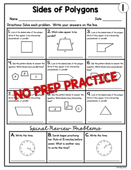 Parallel and Perpendicular Lines on Polygon Sides Worksheets