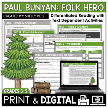Paul Bunyan Reading Passage and Worksheets