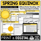 Spring Equinox Reading Passage and Worksheets DIGITAL and PRINTABLE