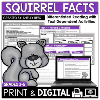 Squirrels Reading Comprehension Passage And Worksheets By Shelly Rees