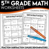Subtracting Fractions with Unlike Denominators Worksheets