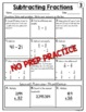 Subtracting Fractions with Unlike Denominators Worksheets