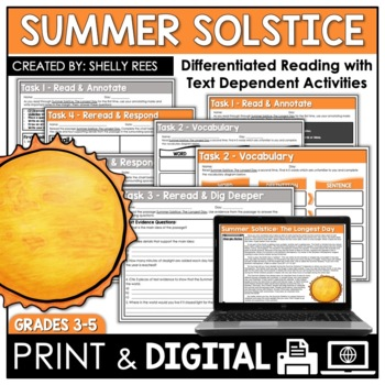 Summer Solstice Reading Passage and Worksheets