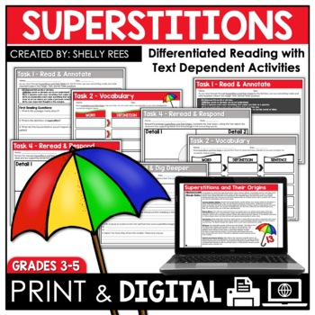 Superstitions and Their Origins Reading Passage & Worksheets