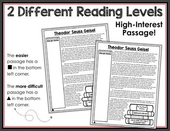 Theodor Seuss Geisel Reading Passage and Worksheets