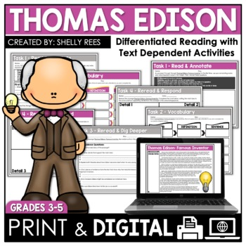 Thomas Edison Reading Comprehension Passage and Worksheets
