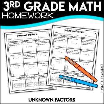 Unknown Factors Worksheets