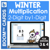 Winter Boom Cards Math | Multiply 2 Digit by 1 Digit Numbers