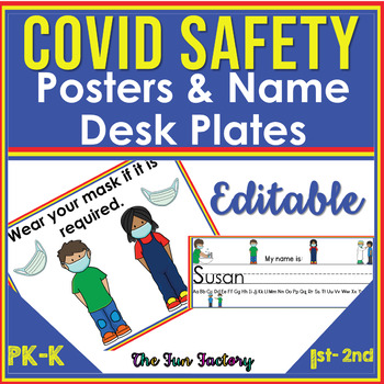 1/2 PRICE! Covid 19 Safety Posters and EDITABLE Desk Name Plates