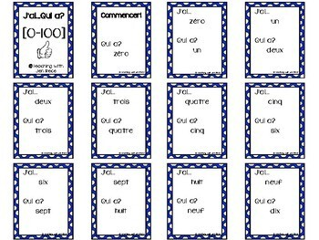 French: I Have, Who Has? 0-100 Number Card Game {J'ai...Qui a?}