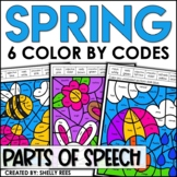 Spring Coloring Pages Parts of Speech Color by Number
