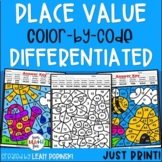 Spring Math Worksheets - Place Value - Color by Number - First & Second Grades