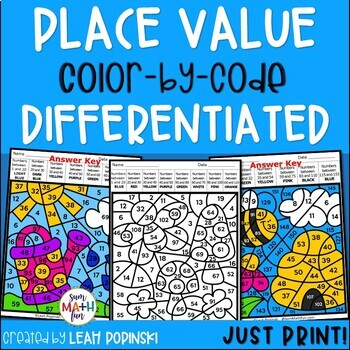 Place Value Worksheets Color By Number 1st Grade 2nd Grade