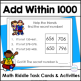Add Three-Digit Numbers Within 1000 Math Riddle Task Cards