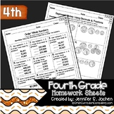 Fourth Grade Math Homework Sheets for Full Year and EDITAB