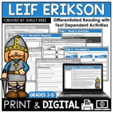 Leif Erikson Reading Passage and Comprehension Worksheets