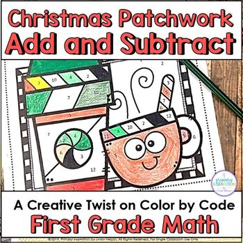 Christmas Addition and Subtraction Color by Code Math Printable Activities