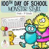 100th Day of School Monster Style - Writing Prompts, Math, Headbands, & More!